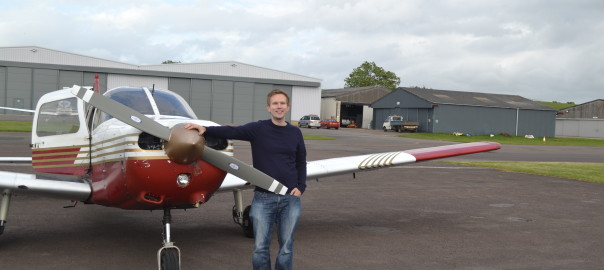 Me posing with the Piper Warrior after my first lesson