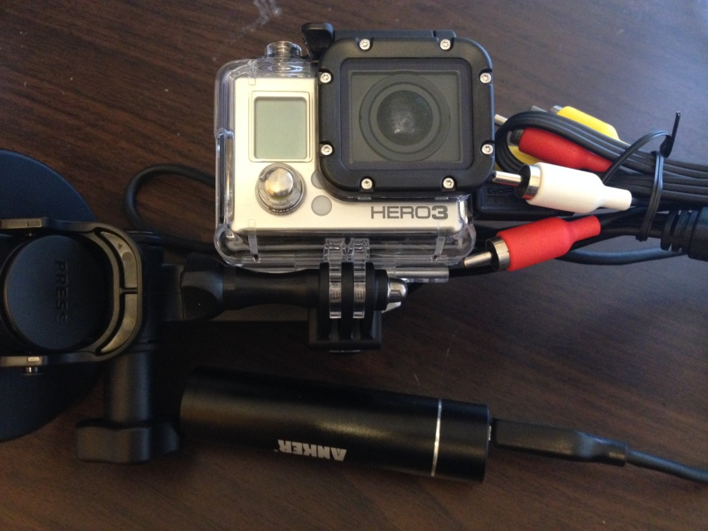 GoPro and Anker Astro Mini battery pack
