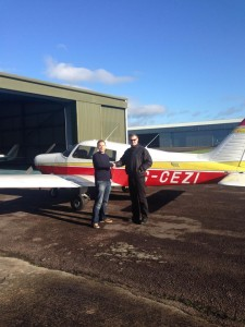 Handshake with my instructor outside the plane after completing my first solo