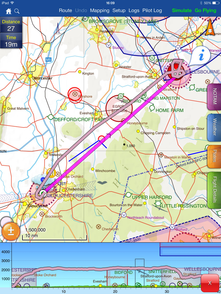 Route from Gloucester to Wellesbourne