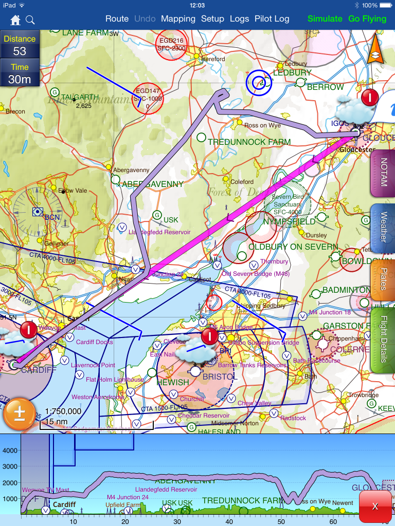 Skydemon tracks showing our route from Cardiff to Gloucester via Usk and a diversion